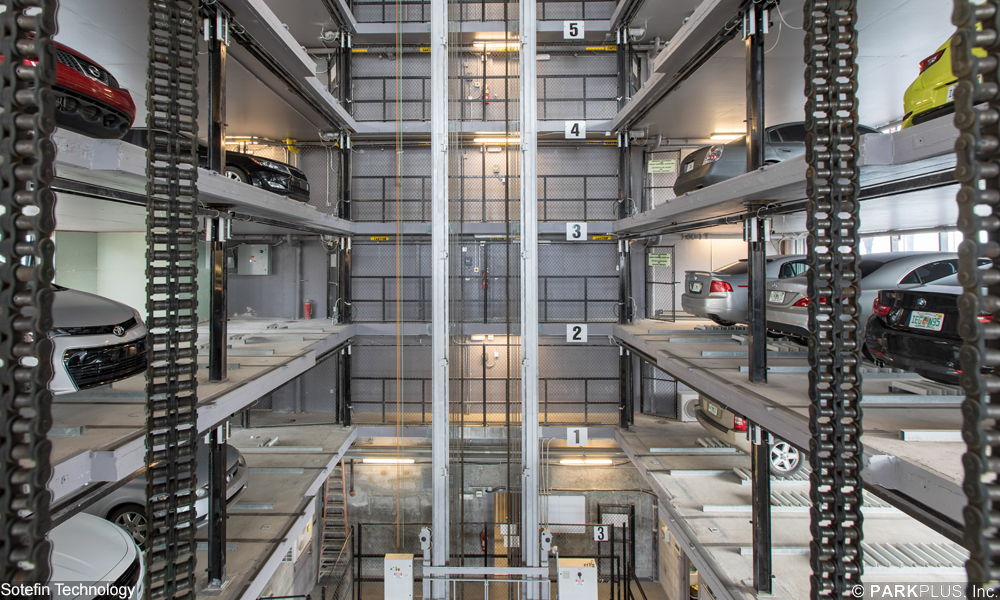 Lift shaft of PARKPLUS automated parking system in Florida