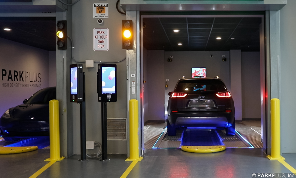 PARKPLUS automated robotic parking system loading bays and kiosks.